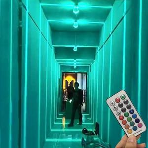 Thrisdar 12 Вт RGB строительные узкие линии окна настенные лампы с дистанционным управлением виллы террасы балкона коридора отеля KTV настенный св...