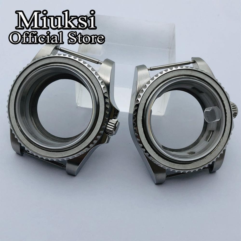 Miuksi 40mm case sapphire glass transparent glass back fit ETA2836 NH35 NH36 Mingzhu DG2813 3804 Miyota8205 8215 821A movement