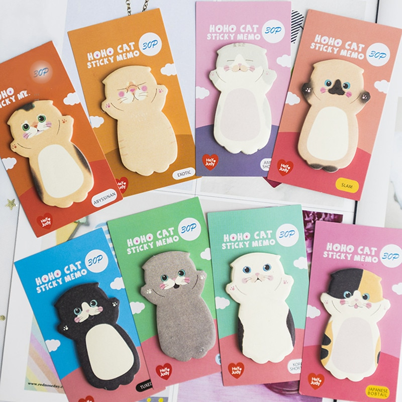 30 Sheets Cute Cat Kawaii Memo Pad Decoration Planner Sticky Notes Adhesive Stationary Notepad School Office Supplies 02233 cute lucky cat animal mini planner sticker notepad sticky notes school supplies material sticky memo agenda notes for student