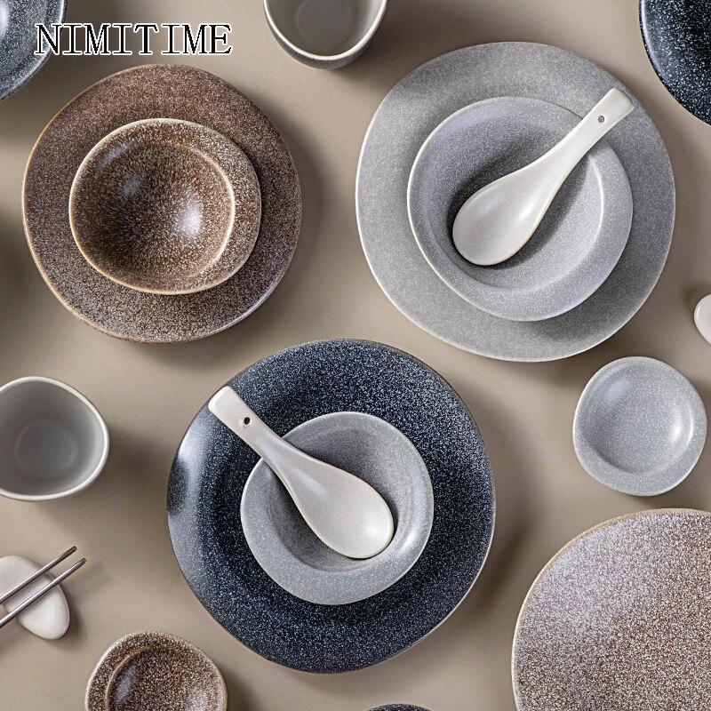 NIMITIME1 PC Japanese Style Ceramic Retro Stone Rice Salad Bowl Fruit Plate Sushi Dessert Dinner Plate  Household Tableware
