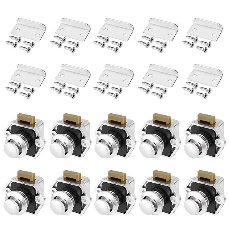 10 قطعة دفع زر بدون مفتاح قفل مزلاج دولاب قافلة قفل ل RV درج خزانة الأبواب سمك 15-27 مللي متر