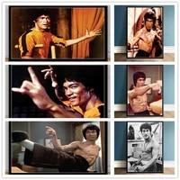 Affiche dart en toile avec Superstar Bruce Lee  Portrait dacteur  peinture sur toile retro  decoration de maison  salon et photo de cinema