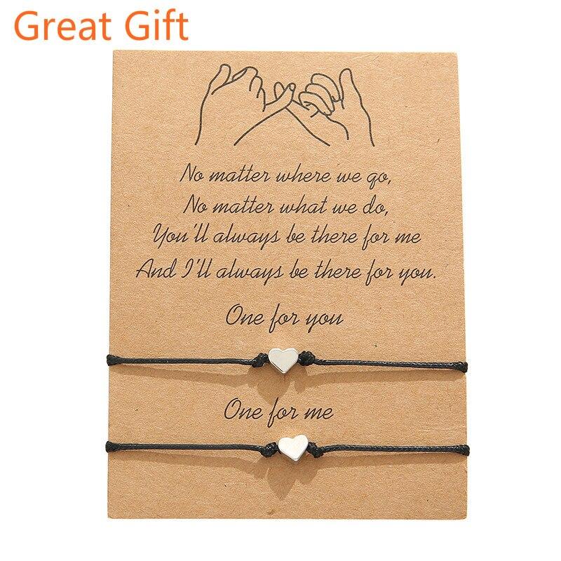 Браслеты для пар с надписью «Promise», лучший друг, отношения на большие расстояния, браслеты дружбы, регулируемый подарок для мужчин и женщин