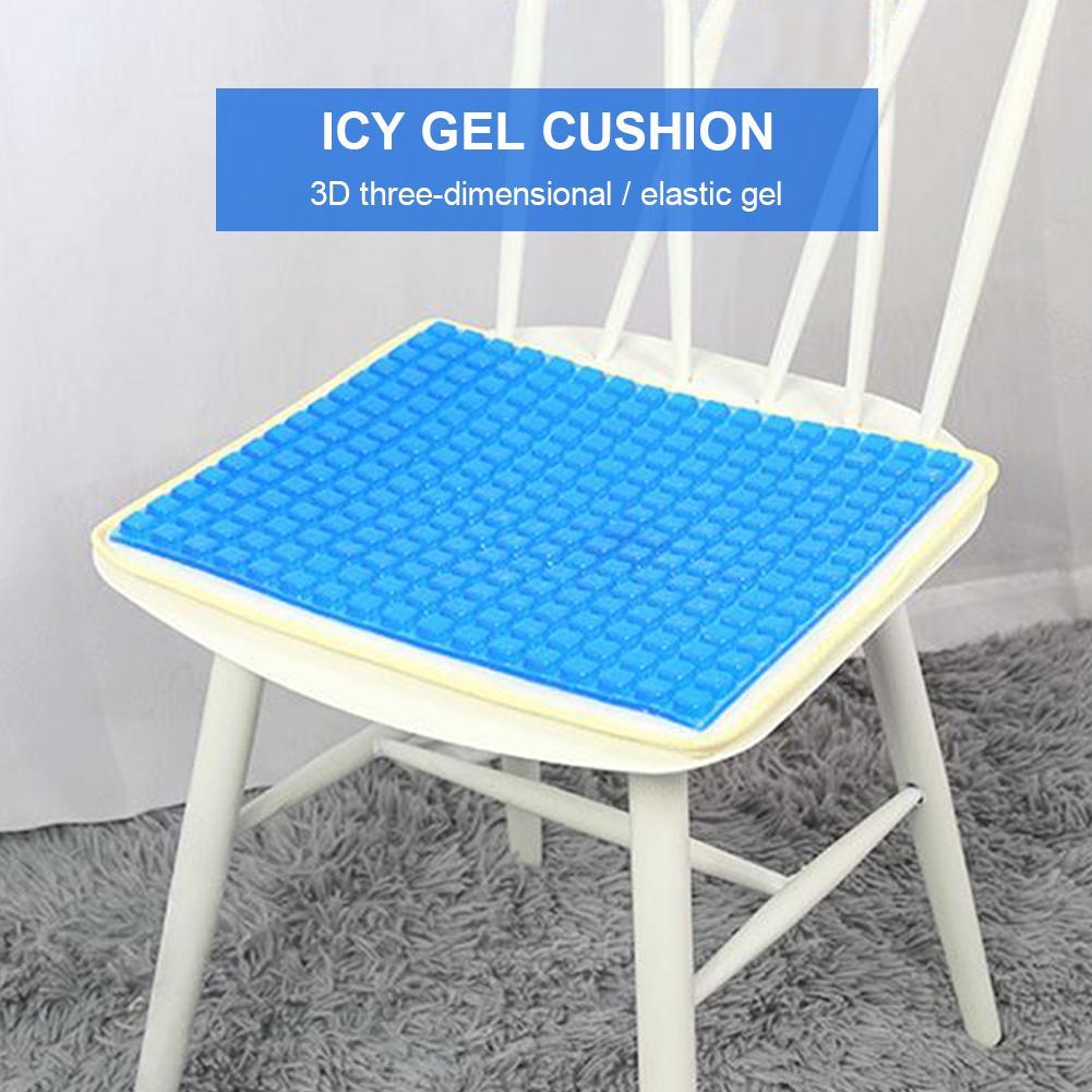 Almohadilla de enfriamiento de silicona suave para asiento de silla de coche, alfombrilla fría, gel impermeable para cojín de cuello de espuma viscoelástica, almohada de látex, alfombrilla de gel azul