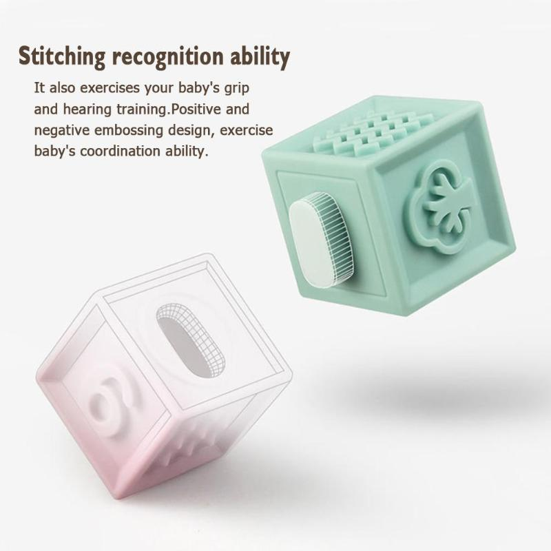 3D Touch 12pcs Squeeze Toys Baby Grasp Bath Ball Building Blocks Touch Hand Soft Balls Baby Rubber Teethers Massage Toy for Baby enlarge