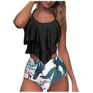 Купальник женский из двух предметов, с двойным воланом, танкини, купальный костюм с регулировкой живота, летний пляжный купальник, купальники женские 2021