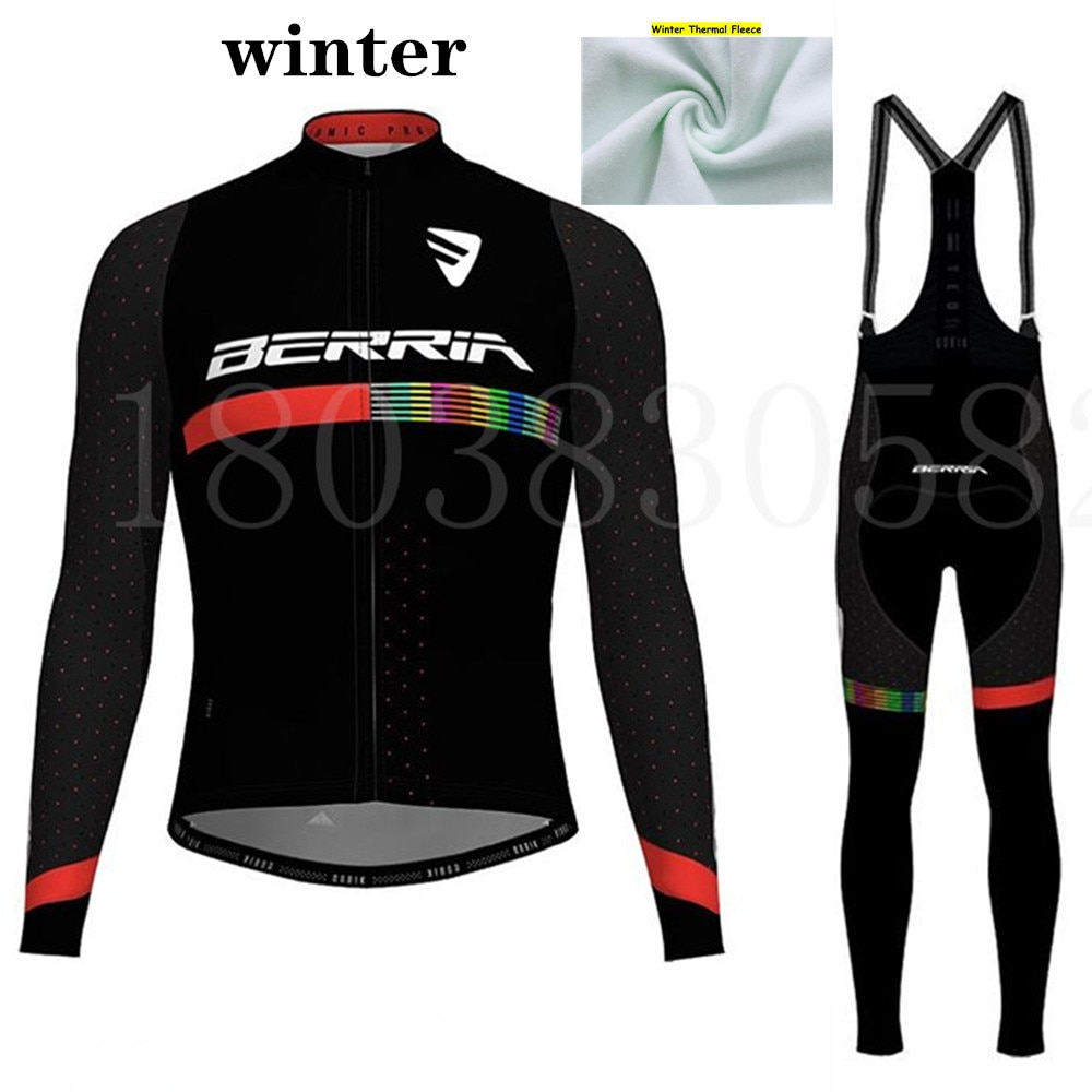 BERRIA team Winter cycling suit Mens long sleeve Velvet sports road bike warm clothing mtb jacket wool shirts Cycle kit ciclismo