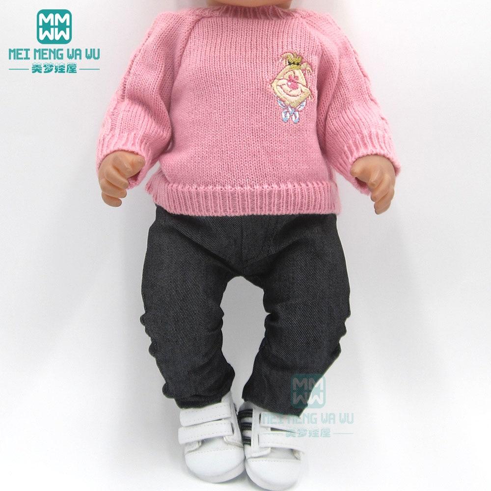 Ropa para muñeca ajuste 43cm bebé juguete recién nacido muñeca y muñeca americana suéter rosa + jeans vestido de princesa