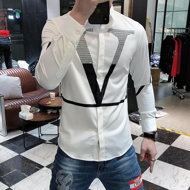 Hot Sale Letter Shirts Men Long Sleeve Business Casual Dress Shirt Slim Streetwear Social Nightclub Chemise Homme