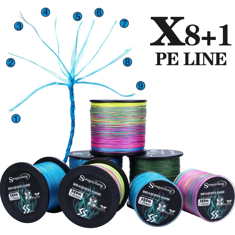 Sougayilang 9 Strands Strong PE Fishing Line 300M 500M 1000M  Abrasion Resistance Multifilament Durable Carp Fishing Line Pesca sougayilang 300m 4 strands braided fishing line 0 6 8 0 pe fishing line 6 3 32 8kg multifilament fishing line smooth pesca