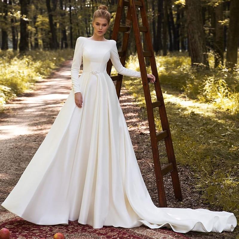 Elegant Muslim Wedding Dresses 2021 Long Sleeve Satin Bride Dress Women A Line Country Style Wedding Gowns Turkey Vestidos