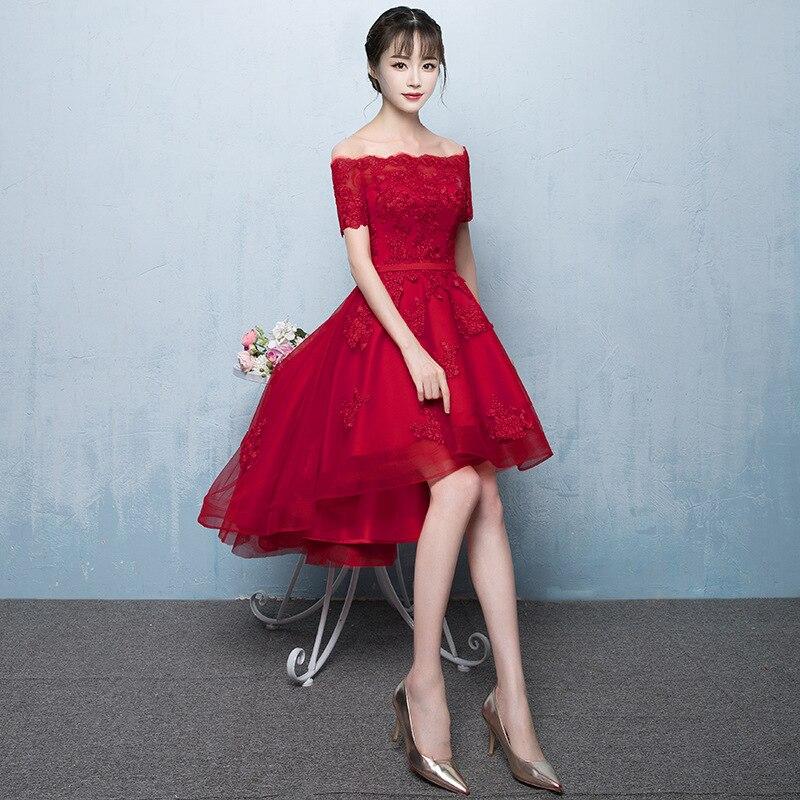 Burgundy mujeres Slash Neck Vestido de fiesta moda boda banquete novia estilo chino elegante Prom corto Vestido de malla Vestido XS-3XL