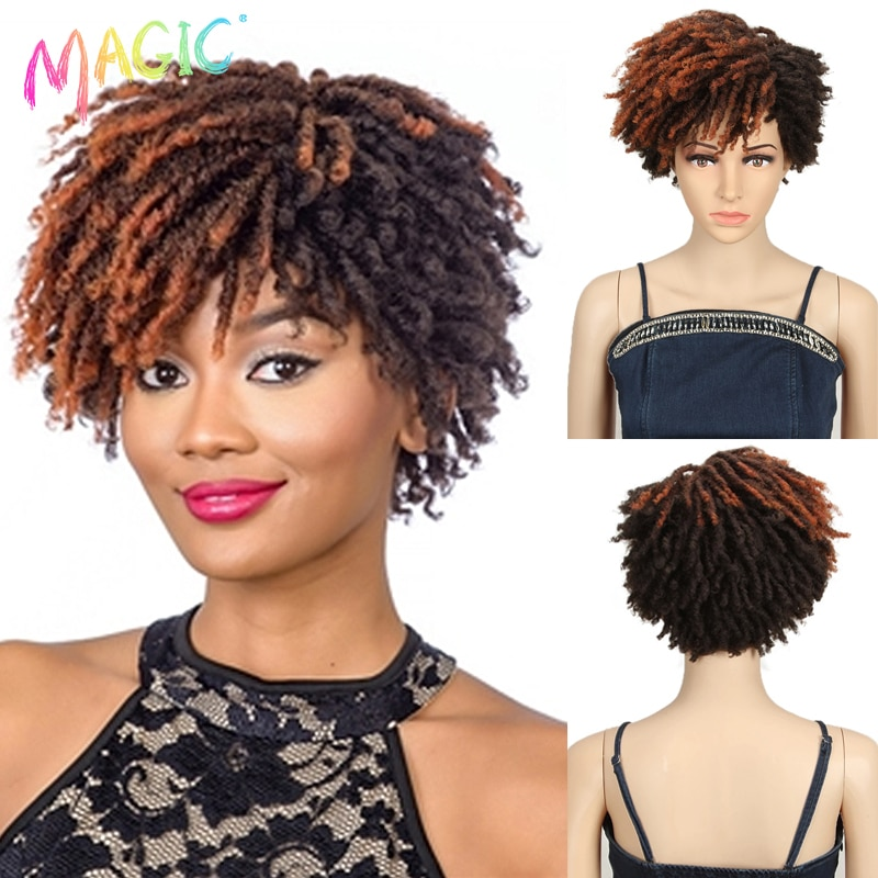 Magic 10 Inches Afro Kinky Curly Wig Synthetic Short Dreadlock Wig With Bangs Ombre Black Blonde Crochet Wig for Black Women