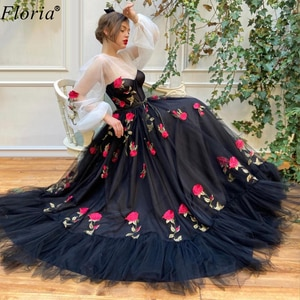 Rose Flowers Celebrity Dresses A-Line Elegant Long Sleeves Evening Dresses Fairy Prom Dress Party Woman Couture Custom Made