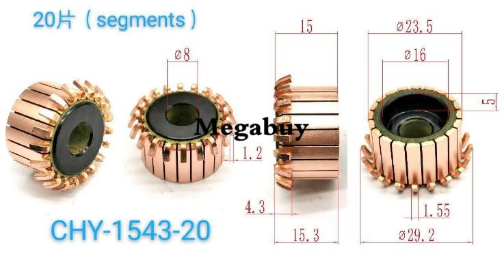 8x23.5x15.3mm 20p barras de cobre alternador motor elétrico comutador de cobre armadura commutator1543