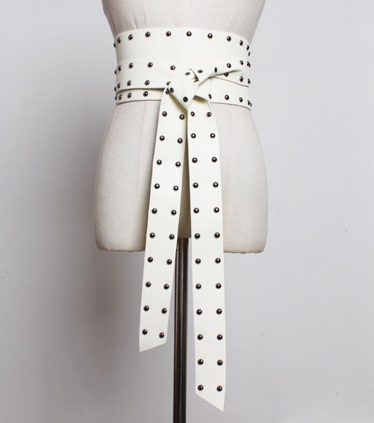 Women's runway fashion rivet vintage pu leather punk Cummerbunds female Dress Corsets Waistband Belts decoration wide belt R1827