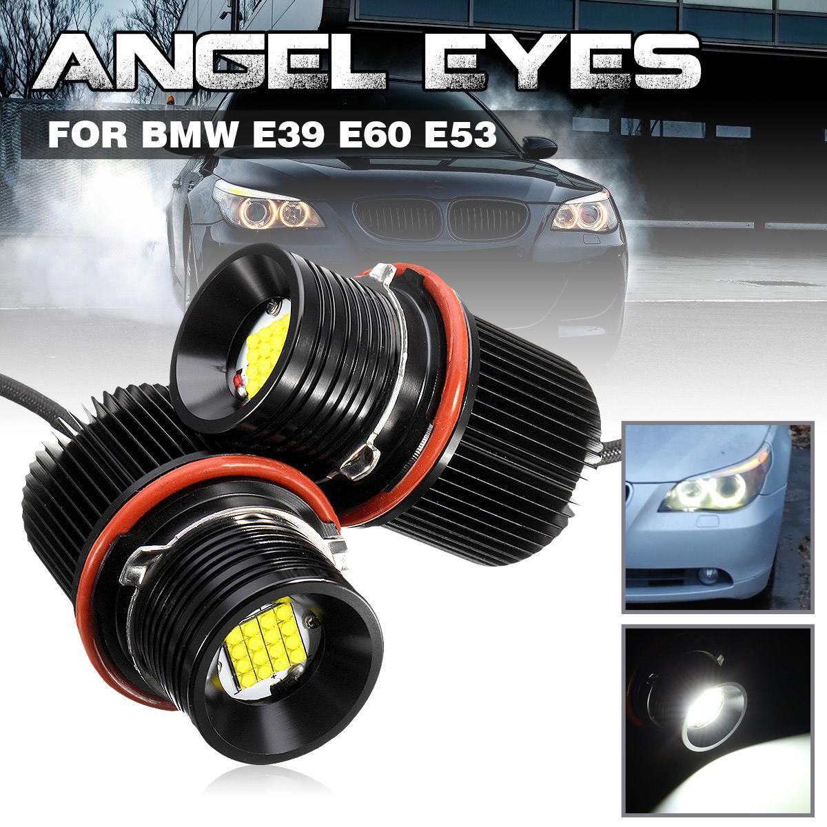 Pair 80w White LED Angle Eyes Halo Ring Light Bulb For BMW E39 E53 X5 E60 E61 E63 E64 E65 E66 E83 X3 E87