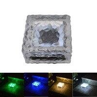 4LED Large Solar Ice Brick Light Glass Underground Light LED Brick Light Outdoor Solar Decorative Light