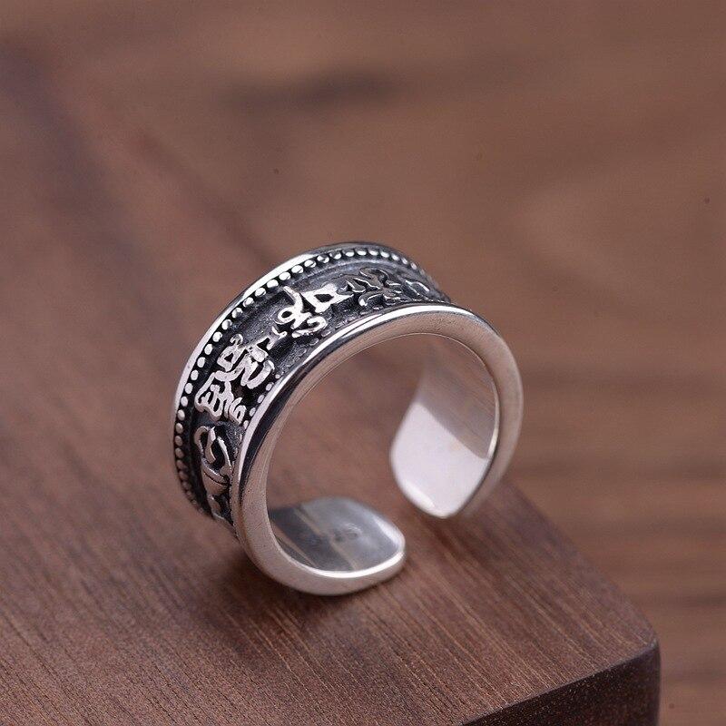 FNJ 925 anillos de plata Vajra Buddha tamaño ajustable abierto S925 anillo de plata sólida para Mujeres Hombres joyería fina