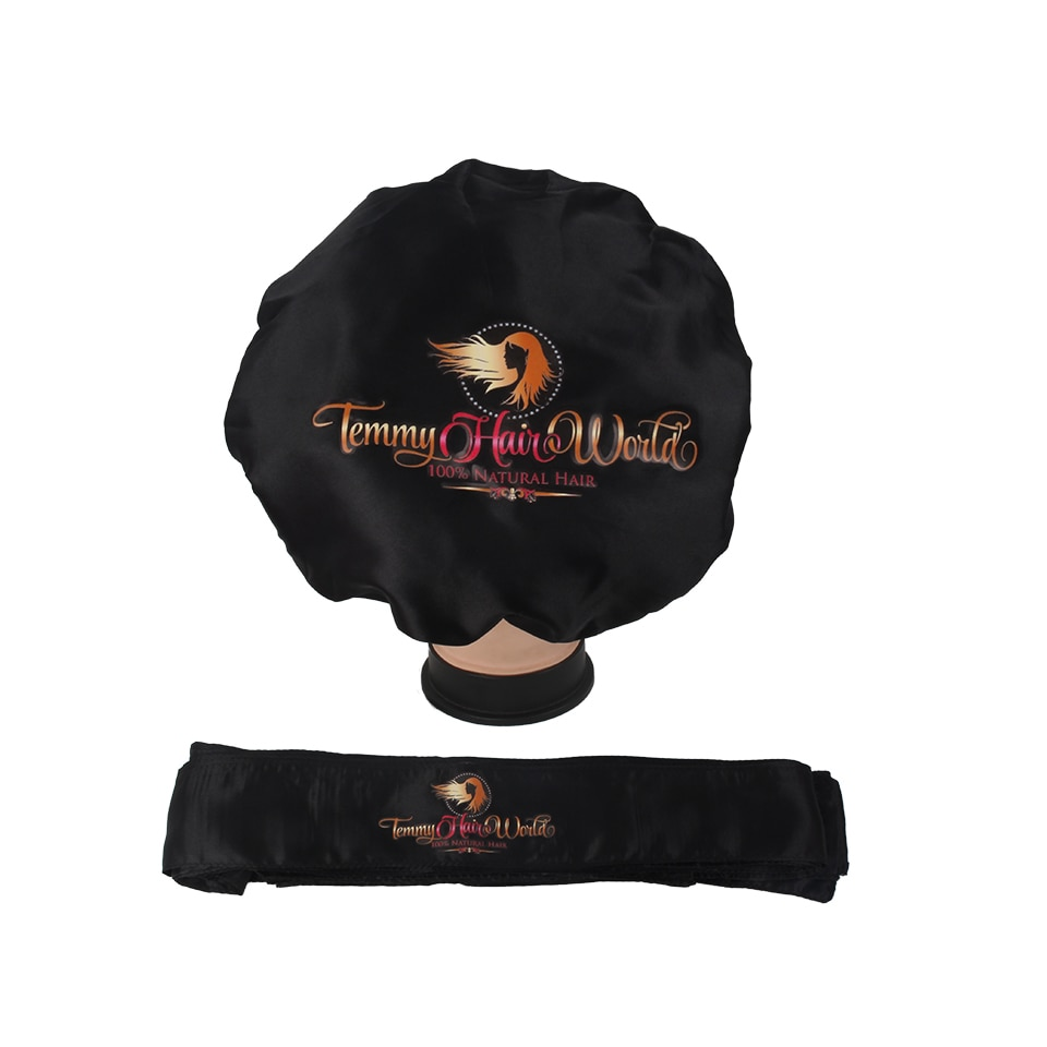 Customized Logo bonnets 2 Layer Satin silk Women sleeping Bonnet Headband tie Caring Virgin hair Ext