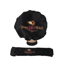 Customized Logo bonnets 2 Layer Satin silk Women sleeping Bonnet Headband tie Caring Virgin hair Ext