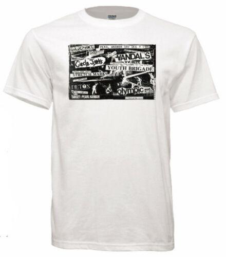 Camiseta branca de manga curta camiseta masculina do círculo do flyer do concerto do punk do rock