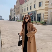 solid color woolen fall winter clothes for women 2020 mid length double breasted double cashmere turn down collar jackets women