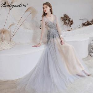 Sparkl Luxury Evening Dresses 2021 Bealegantom A-Line Sequin Beading Long Formal Prom Gowns Vestido Robe Soiree Real Photo