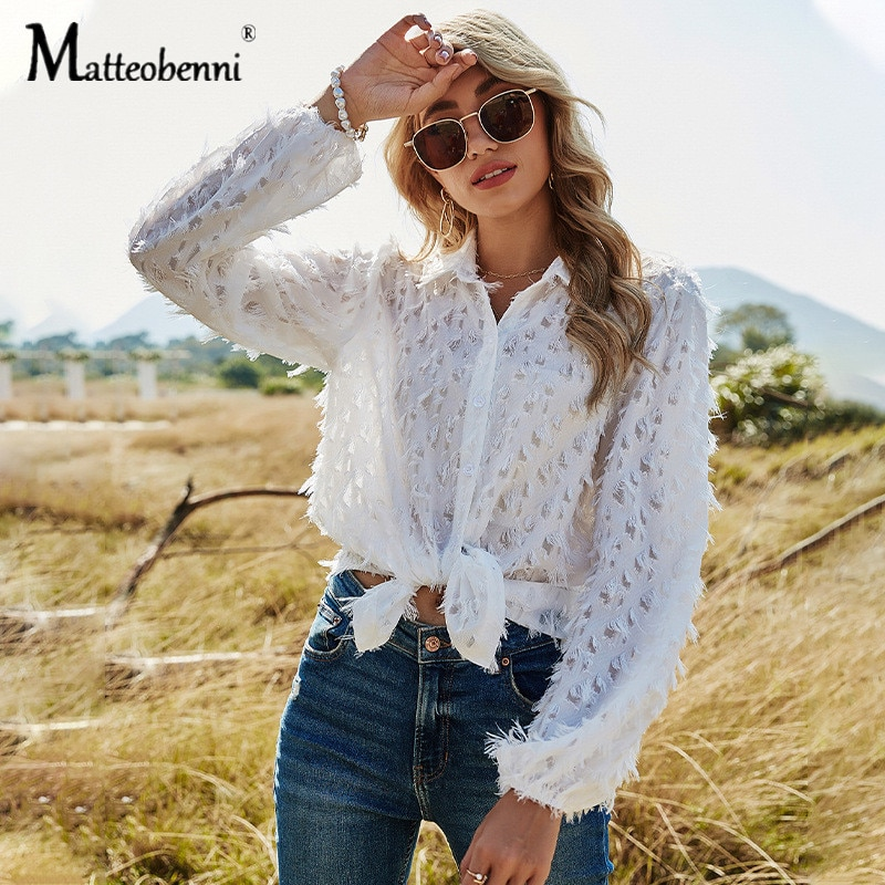 2021 Summer New Women Fashion Hollow Out Casual Chiffon Blouse Shirt Women Long Sleeve Chic Street Perspective White Chemise Top
