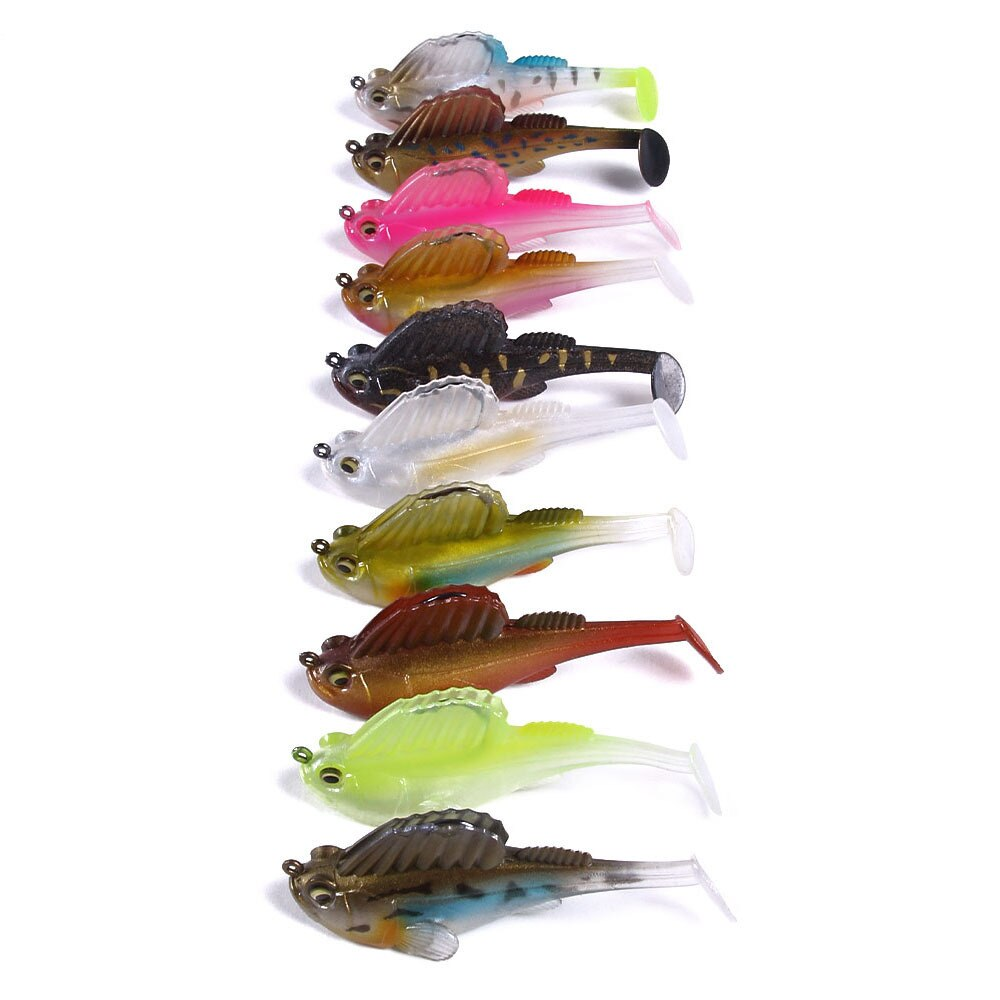 10pcs Swim Shad 75mm 13g Soft Bait Shad Silicone Bass Pike Minnow Swimbait Jigging Plastic Lure for Bass Baitfish Lead silicone