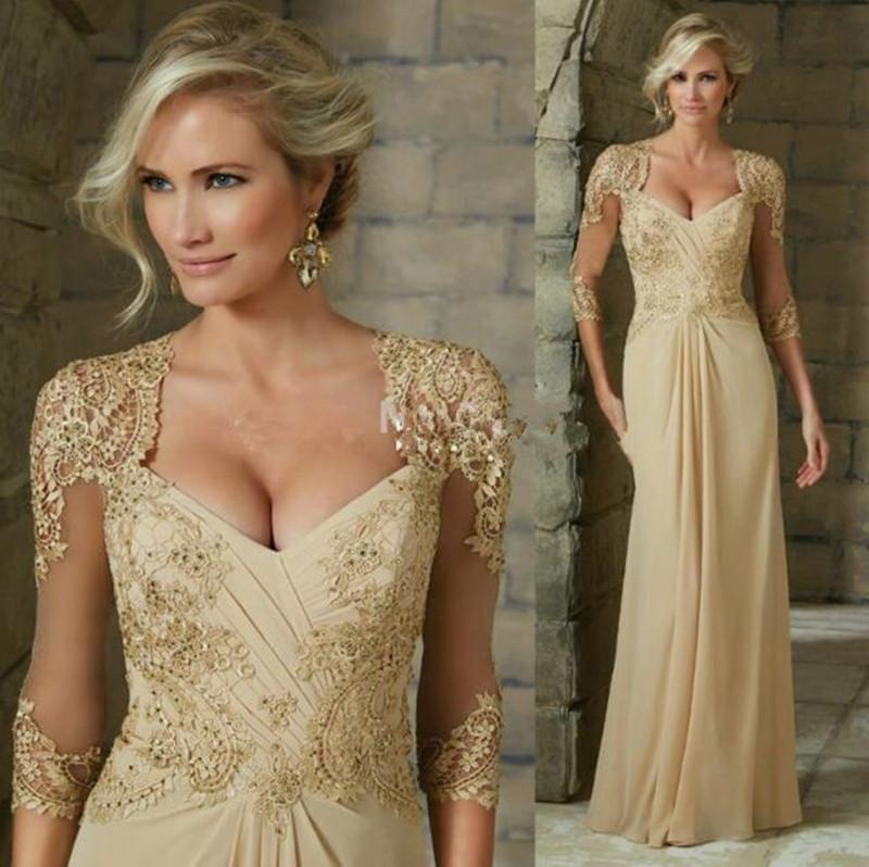 Champagne Mother Of The Bride Dresses A-line V-neck 3/4 Sleeves Chiffon Appliques Beaded Long Groom