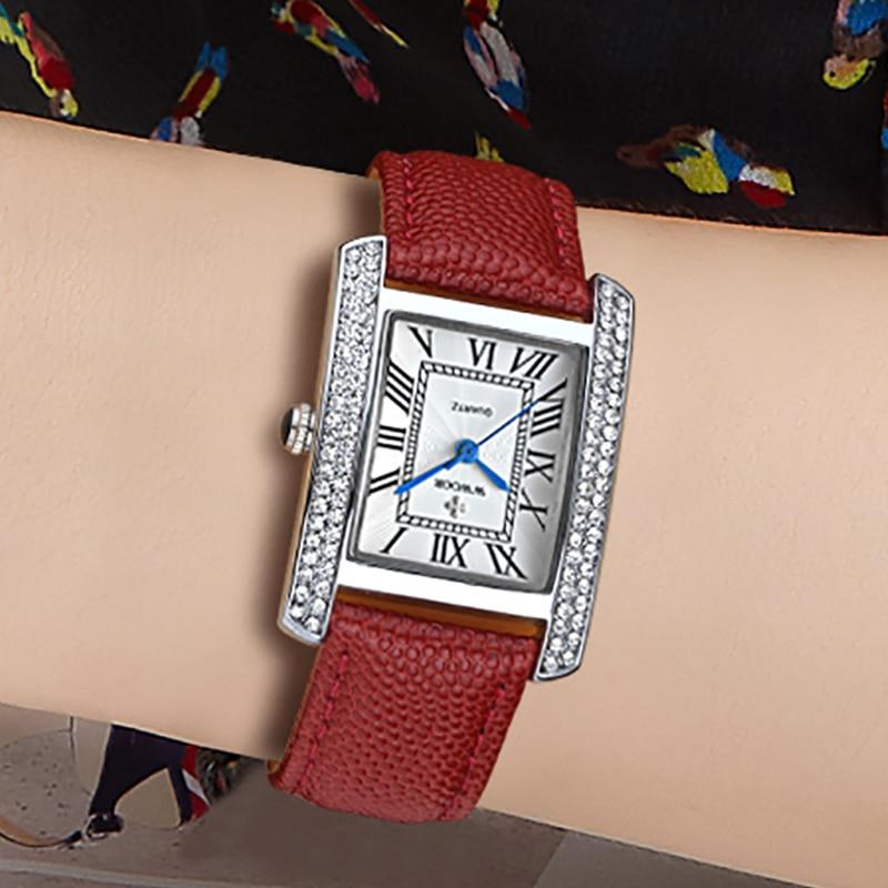Relogio Feminino 2021 WWOOR Ladies Watches Top Brand Luxury Diamond Red Leather Wrist Watch Fashion Square Ladies Quartz Watches enlarge