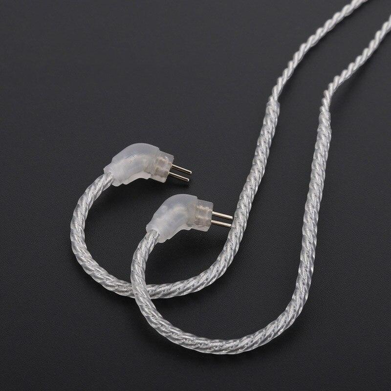Cable de auriculares Chapado en plata 0,75mm 0,78mm MMCX Cable desmontable de alta calidad TRN V10 V20 3,5mm para Shure SE215 535 846