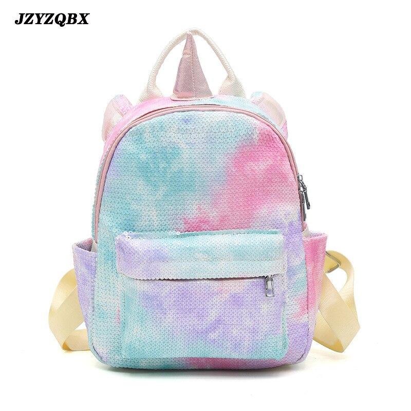 Mochila escolar de unicornio JZYZQBX, mochila de lentejuelas de Color caramelo, mochila escolar con múltiples bolsillos para niños, mochila escolar para niñas