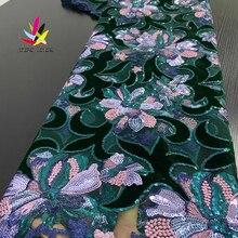 Tissus dentelle à paillettes nigérianes, tissus en dentelle verte émeraude, tissu africain, dentelle avec paillettes pour femmes, robe de soirée de mariage XZ3236B