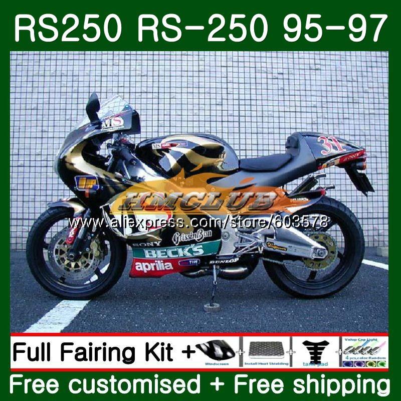 Kit de carenado para Aprilia RS-250 RSV250 RS250 1995 1996 1997 negro dorado 45CL.42 RSV250 RR RS 250R 95-97 RSV 250 RR RS 250 95 96 97