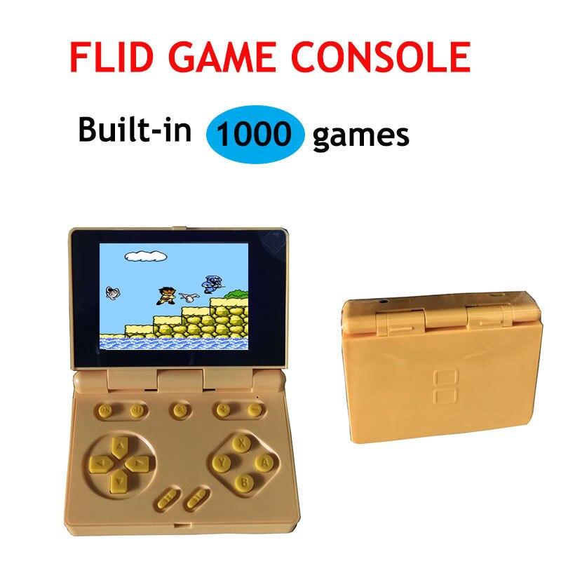 Flip handheld console 8 bits console de jogo retro console de jogo embutido 1000 jogos mini jogador de jogo modo de dois jogadores