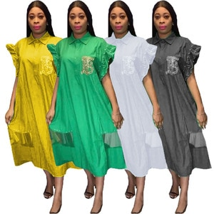 HOUSEOFSD Casual Fashion African Women Beading Shirt Dresses Solid Color Short Sleeve Plus Size Dress For Ladies Vestidos 2021