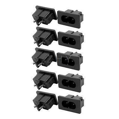 250V 1A fuente de alimentación IEC entrada C8 adaptador de enchufe 10 piezas