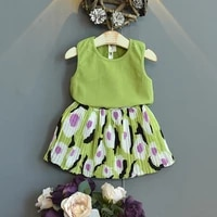 girls vest short skirt suit baby summer small fresh sleeveless t half skirt two piece suit girls boutique outfits