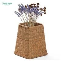 handmade bamboo storage baskets seagrass container holder wicker square basket garden dry flower pot vase home decoration basket