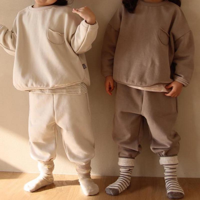 Autumn kids clothes for girls Children's clothing sets for boys Korean style 2-6y Cotton baby Tracksuit 2pcs sweatshirt infant