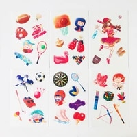 6 sheets pack kawaii sports girls decorative stickers phone car styling decorative stickers