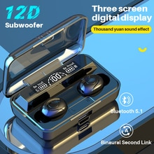 Wireless Earphones TWS Bluetooth Earphones 5.1 12D Bass Stereo waterproof Earbuds Handsfree With Mic