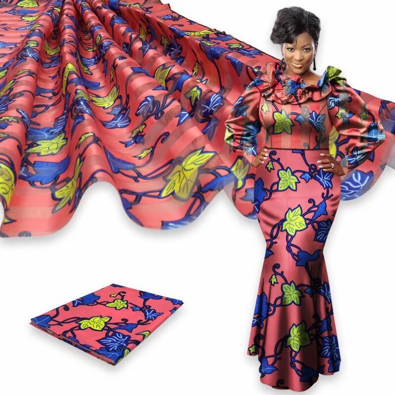 4 + 2 yardas de cinta de tela de seda africano suave de tela para el vestido estampados africanos orgnaza seda tela de cera para las mujeres