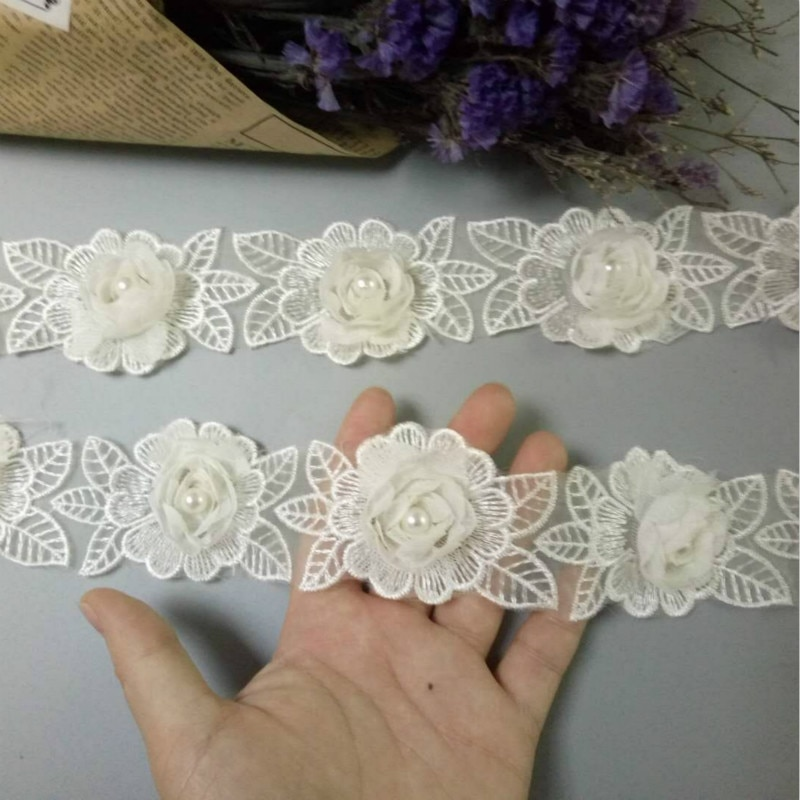 2 yardas Soluble marfil Rosa flor perla gasa bordado encaje cinta tela hecha a mano Vintage vestido de boda costura artesanal
