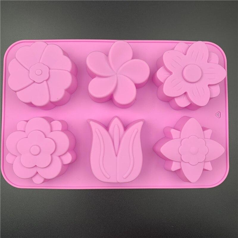 6 cavidade forma de flor de silicone bolo de chocolate decoração molde de gelo bandeja de cubo de gelo caseiro molde de sope diy decoração do bolo