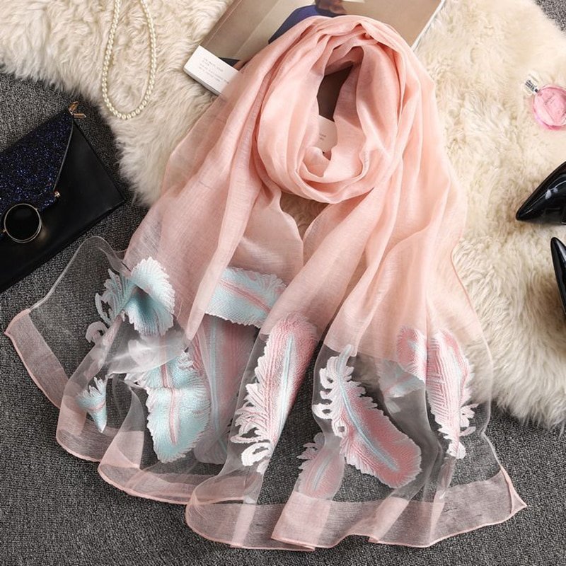 Autumn Femme Silk Scarves Silk Scarf 2019 New Women Embroidery Feather Sunscreen Beach Long Soft Wrap Scarf Ladies Shawl veil