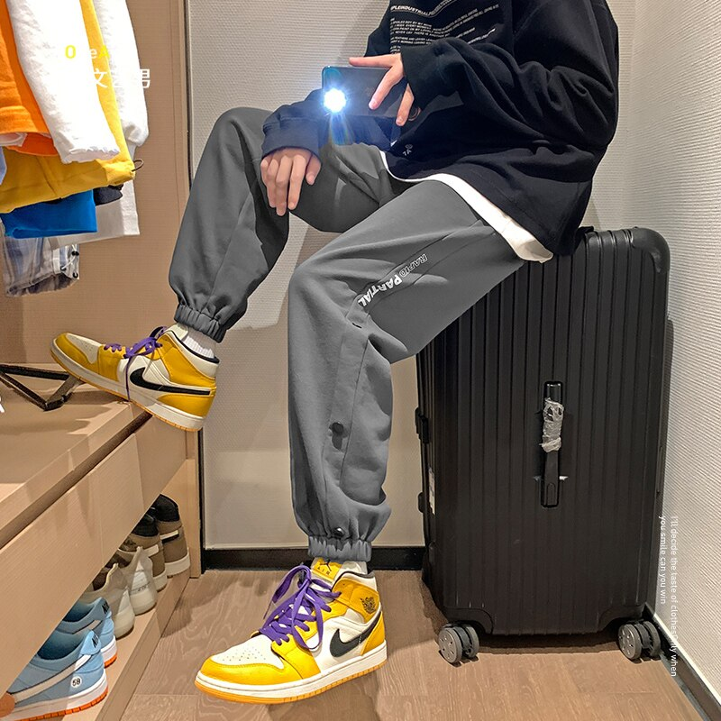 Casual Pants Boys All-Matching 2021 Spring Fashion Brand Loose Pants Korean Fashion Ins Ankle-Tied Sweatpants