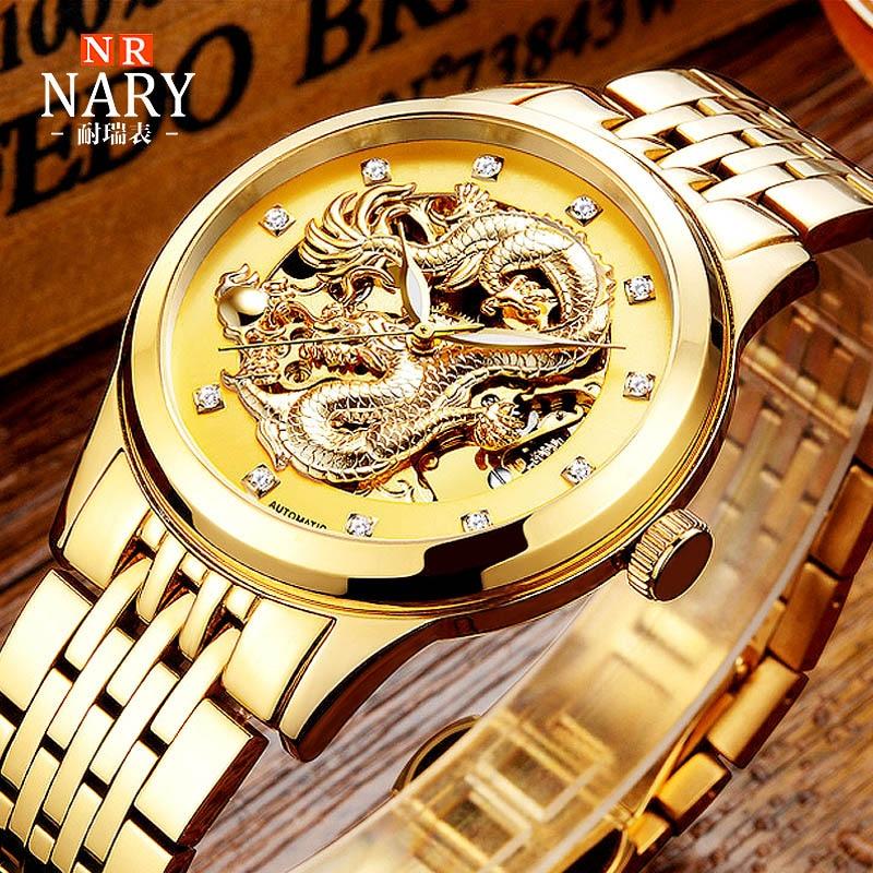 Уникальные мужские роскошные золотые механические часы, автоматические механические наручные часы из нержавеющей стали, мужские часы-скел...